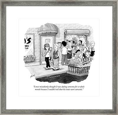 Two Women Walk And Talk Framed Print
