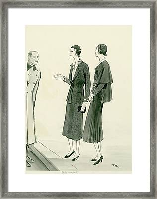 Two Women Wearing A Chanel Jersey Suit Framed Print by Ren? Bou?t-Willaumez