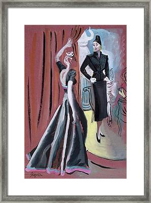Two Women Wearing Designer Dresses Framed Print by R.S. Grafstrom