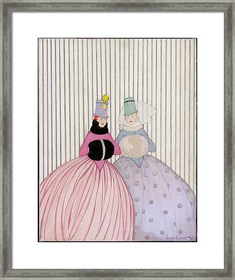 Two Women Wearing Hand Warmers Framed Print by Irma Campbell