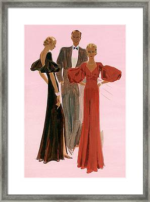 Two Women Wearing Mainbocher Evening Gowns Framed Print by Eduardo Garcia Benito