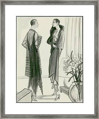 Two Women Wearing Wraps Framed Print by Porter Woodruff