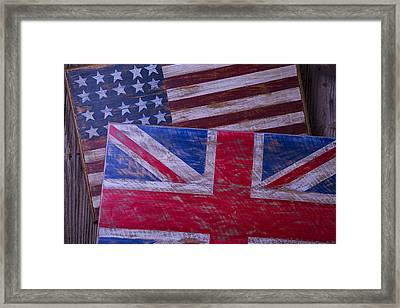 Two Wooden Flags Framed Print by Garry Gay