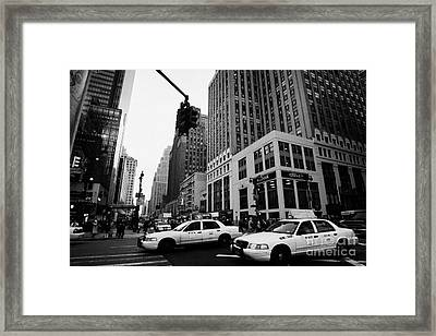 Two Yellow Cabs Cross Intersection Between Seventh 7th Avenue And 34th Street New York City Framed Print