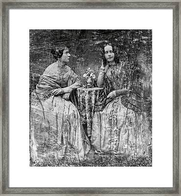 Two Young Antebellum Ladies Almost Lost To Time Framed Print by Daniel Hagerman