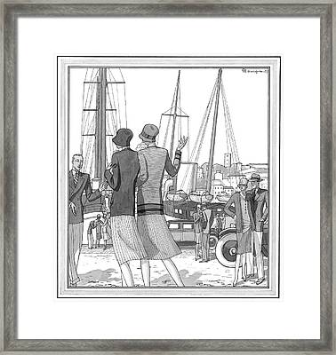 Two Young Women On The Dock At The French Riviera Framed Print