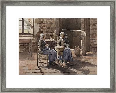 Two Young Women Peeling Potatoes  Framed Print by Henri Duhem