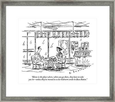 Two Younger People Speak At A Coffee Shop Framed Print