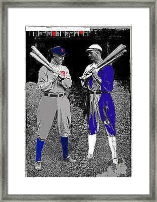 Ty Cobb And Shoeless Joe Jackson Cleveland 1913-2014 Framed Print by David Lee Guss