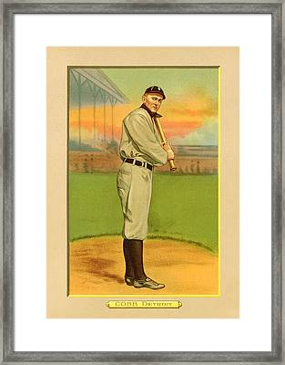 Ty Cobb Baseball Card Portrait Framed Print by Gary Bodnar