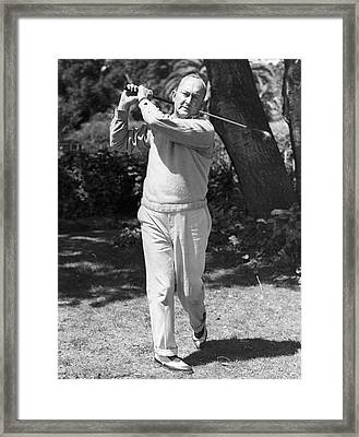 Ty Cobb Golfing At Home Framed Print by Underwood Archives