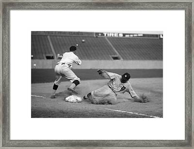 Ty Cobb Sliding Framed Print by Gianfranco Weiss