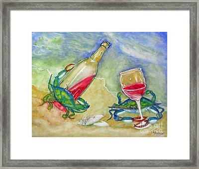 Tybee Blue Crabs Tipsy Framed Print by Doris Blessington