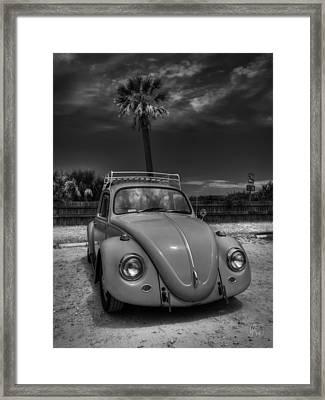 Tybee Island Beach Bug 002 Bw Framed Print