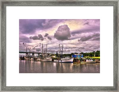 The Waiting Tybee Islands' Agnes Marie Shrimp Boat Art Framed Print by Reid Callaway