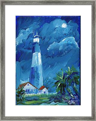 Framed Print featuring the painting Tybee Lighthouse Night Mini by Doris Blessington