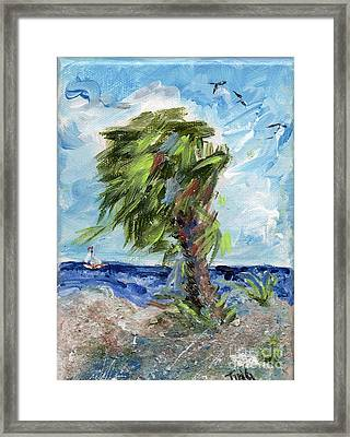 Framed Print featuring the painting Tybee Palm Mini Series 1 by Doris Blessington