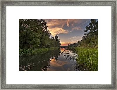 Tyler State Park Lake At Sunset Framed Print