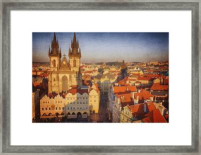 Tyn Church Old Town Square Framed Print by Joan Carroll