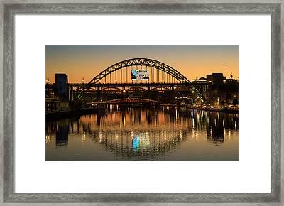 Tyne Bridge Over River Tyne At Sunset Framed Print by John Short