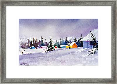 Framed Print featuring the painting Tyonek Village Impression by Teresa Ascone