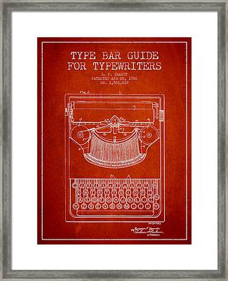 Type Bar Guide For Typewriters Patent From 1926 - Red Framed Print