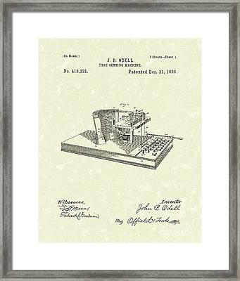Type Setting Machine 1889 Patent Art Framed Print by Prior Art Design