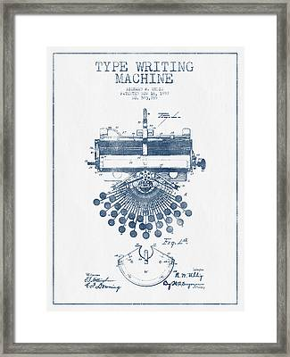 Type Writing Machine Patent Drawing From 1897 - Blue Ink Framed Print by Aged Pixel
