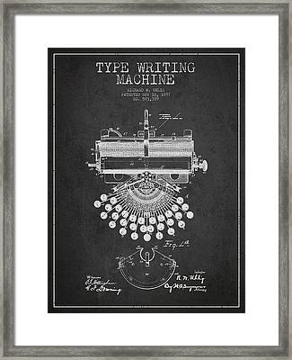 Type Writing Machine Patent Drawing From 1897 - Dark Framed Print by Aged Pixel