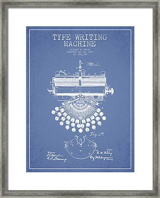 Type Writing Machine Patent Drawing From 1897 - Light Blue Framed Print
