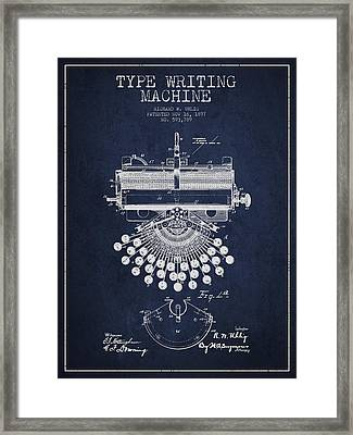 Type Writing Machine Patent Drawing From 1897 - Navy Blue Framed Print by Aged Pixel