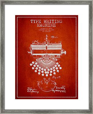 Type Writing Machine Patent Drawing From 1897 - Red Framed Print