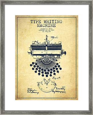Type Writing Machine Patent Drawing From 1897 - Vintage Framed Print
