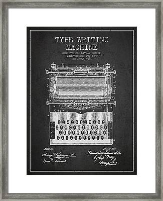 Type Writing Machine Patent From 1896 - Charcoal Framed Print