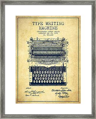 Type Writing Machine Patent From 1896 - Vintage Framed Print