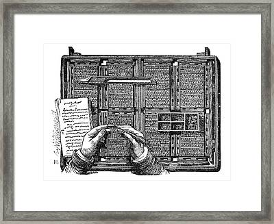 Typesetter Framed Print by Science Photo Library