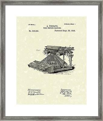 Typewriter 1896 Patent Art Framed Print
