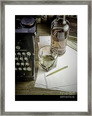 Typewriter And Whiskey Framed Print by Jill Battaglia