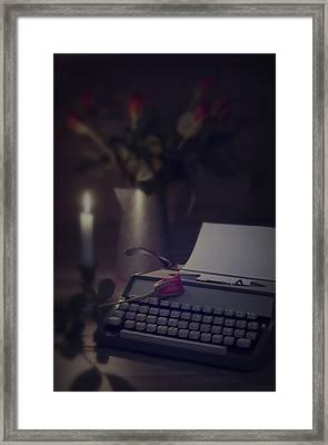 Typewriter By Candlelight Framed Print by Amanda Elwell