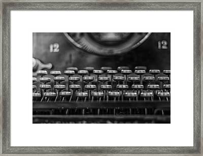 Typewriter Keys In Black And White Framed Print by Georgia Fowler