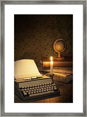 Typewriter With Globe Framed Print by Amanda Elwell