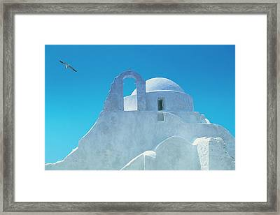 Typical Greek Architecture, Mykonos Framed Print by Peter Adams