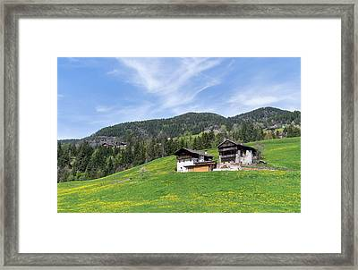 Typical Old Mountain Farms In South Framed Print