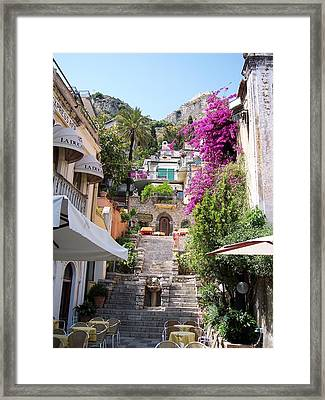 Typical Street Of Taormina Framed Print by Alberto Pala