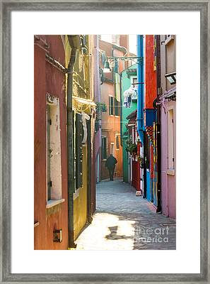 Typical Street With Colorful Houses In Burano - Venice Framed Print