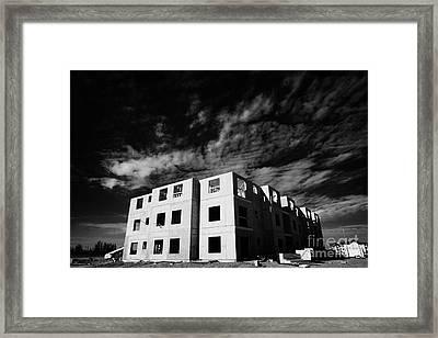 typical timber framed condominium block construction with sheet panels Saskatchewan Canada Framed Print by Joe Fox