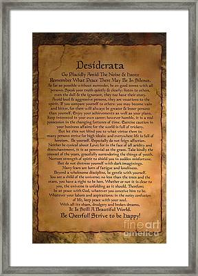 Typography Art Desiderat On Medieval Stone Tablet  Framed Print by Desiderata Gallery
