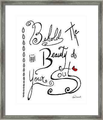 Typography Black And White Word Art Unique And Whimsical Drawing By Megan Duncanson Framed Print