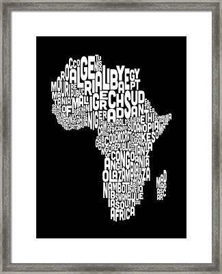Typography Map Of Africa Map Framed Print by Michael Tompsett