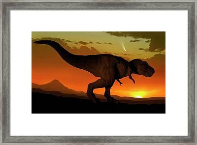 Tyrannosaurus And Comet Framed Print